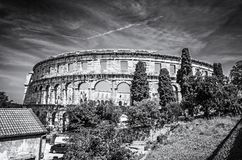 Ancient Pula Arena, Istria, Croatia, colorless. Ancient amphitheater located in Pula, Istria, Croatia. Travel destination. Famous object. Black and white photo royalty free stock images