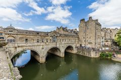 Ancient Pulteney Bridge in Bath, Somerset, UK royalty free stock photography