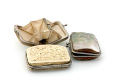 Ancient purses stock photography