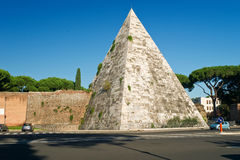 The ancient Pyramid of Cestius in Rome Royalty Free Stock Images