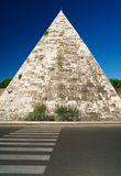 The ancient Pyramid of Cestius in Rome Stock Photography