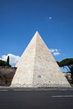 The ancient Pyramid of Cestius in Rome Royalty Free Stock Photography