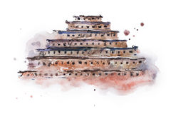 Ancient pyramid of niches watercolor painting. Mexico.  royalty free stock photography