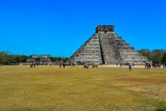 Ancient pyramids of the Mayan culture of Chichen Itza Mexico royalty free stock images