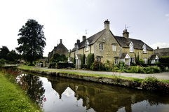 Ancient quaint English country village town. Lower Slaughter Stock Images