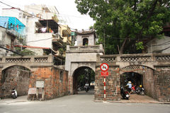 Ancient Quan Chuong Gate in old Hanoi street Royalty Free Stock Photos