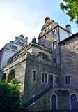 Ancient quarry stone castle. With red wine leaves. Building part of castle Landsberg in Essen-Germany. Old castle with turrets and balcony Stock Image