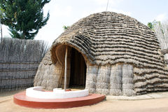 The ancient Queen's Palace in Nyanza. Nyanza is a town located in Nyanza District in the Southern Province of Rwanda. Nyanza is the site of the former king's stock photography