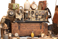 Ancient radio and objects Stock Photo