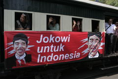 Ancient and rail transportation decker bus in the city of Solo, Central Java Stock Photo