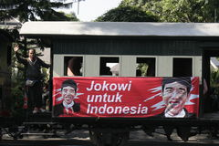 Ancient and rail transportation decker bus in the city of Solo, Central Java Stock Images