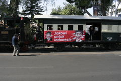 Ancient and rail transportation decker bus in the city of Solo, Central Java Stock Photography