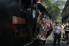 Ancient and rail transportation decker bus in the city of Solo, Central Java Stock Image
