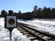 Ancient railway semaphore signal showing a stop for transport royalty free stock photo