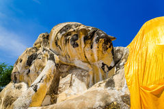 The ancient reclining Buddha statue in Ayutthaya, Thailand. Royalty Free Stock Photography