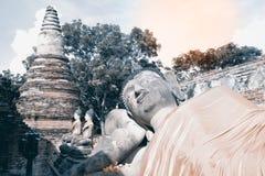 Ancient Reclining Buddha in Wat Phutthaisawan temple, Thailand. Stock Photos