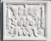 Ancient rectangular bas-relief with floral ornament completely Stock Photography