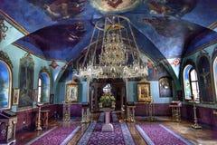 Ancient Rectory Saint Michael Vydubytsky Monastery Kiev Ukraine. Ancient Mosaics Icons Chandelier Rectory Saint Michael Vydubytsky Monastery Kiev Ukraine.  Saint Stock Photo