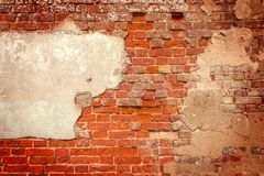 Ancient red brick wall. Stock Images