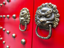 Ancient red Chinese gate side view Stock Photo