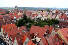 Ancient red roof houses. Rothenburg ob der Tauber, medieval old town in Germany stock image