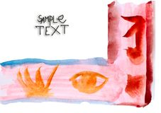 Ancient red symbol ornament handmade watercolor Royalty Free Stock Image