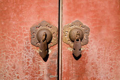 Ancient red Temple door Royalty Free Stock Photo