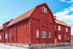 Ancient red wooden house in Karlskrona, Sweden Royalty Free Stock Photography
