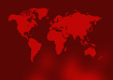 Ancient red world map. In reddish background Royalty Free Stock Images