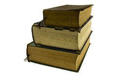 Ancient reference books. On a white background stock images