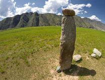 Ancient  reindeer stone. Altai Royalty Free Stock Photos