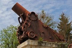 A reliquary of the war of liberation of Turkish slavery in Bulgaria. An ancient relic cannon symbol of the war between Bulgaria and Turquilla stock photos