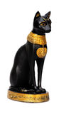 Ancient relic isolated over white background. Egyptian cat statue isolated over white Stock Photos