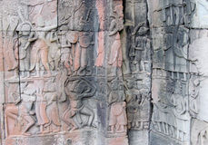 Ancient relief in Angkor Wat, Cambodia, Siem Reap Royalty Free Stock Photos