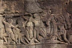 Ancient relief in Angor wat Stock Photos