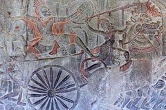 Ancient reliefs at Angkor Wat, Cambodia Stock Image