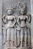Ancient reliefs at Angkor Wat Temple, Cambodia Royalty Free Stock Photography