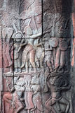 Ancient reliefs at Angkor Wat Temple, Cambodia Royalty Free Stock Image