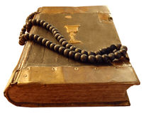 Ancient religious book. With rosario royalty free stock photography