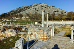 Ancient remainings in the archeological area of ancient Philippi, Greece Stock Images
