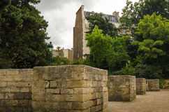 Ancient remains of Arenes de Lutece in Paris Royalty Free Stock Images