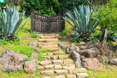 Ancient Remains of a Great Entrance. The entrance of these remains are all that are left here, now displayed as a memory in Knights Ferry Park Royalty Free Stock Photo