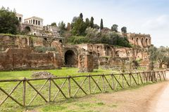Ancient ruins on the Roman Forum, Rome, Italy, Europe stock photos