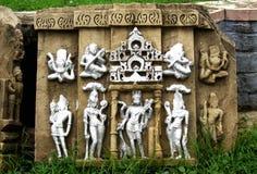 Ancient ruin stone carvings, Hindu God, Baraundha, Satna, India royalty free stock image
