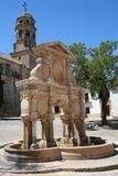 Ancient Renaissance fountain of Spain. This ancient Renaissance fountain of Spain, is medieval and is located in the Plaza de Santa Maria in the Andalusian city Royalty Free Stock Photo
