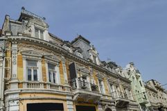 Ancient renovated building with rich decoration in Ruse town Stock Photo