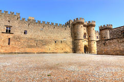 Ancient Rhodes castle with main square Stock Photos