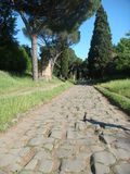 Ancient road Appia Antica to Rome in Italy. Clear blue sky. Sunny day. Travel destination. Ancient Roman road. Field of green grass. Pins and cypresses along Stock Photos