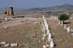 Ancient Roadway at Pergamon or Pergamum Ancient Greek city in Aeolis, now near Bergama, Turkey Royalty Free Stock Images