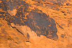 Ancient rock art and carving in Valley of Fire State Park, South Royalty Free Stock Images